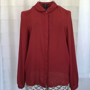Dark Red Button down Blouse size small